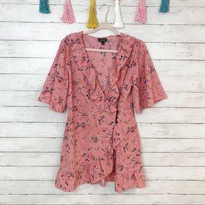 Topshop Off Duty Pink Ruffle Tea Dress Size 10